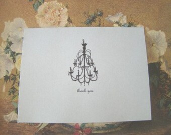 Gray Chandelier Thank You Cards
