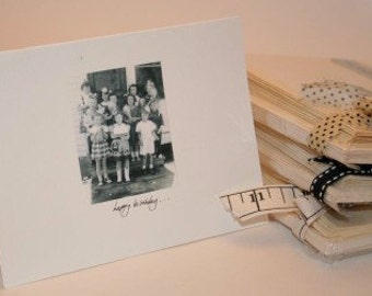 Vintage Photo Happy Birthday Note Cards