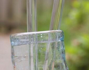 Glass Smoothie Size Straws  - Set of 2 - Eco Straws made of Borosilicate Glass - Lifetime Guarantee