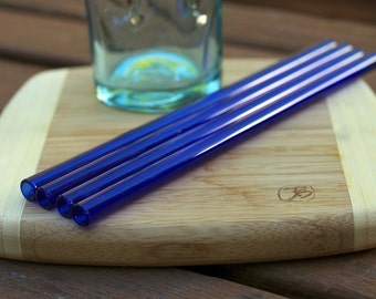 Eco Glass Straws - COBALT BLUE glass - Set of 4 Regular Size - Reusable and Eco-Friendly -  Lifetime Guarantee