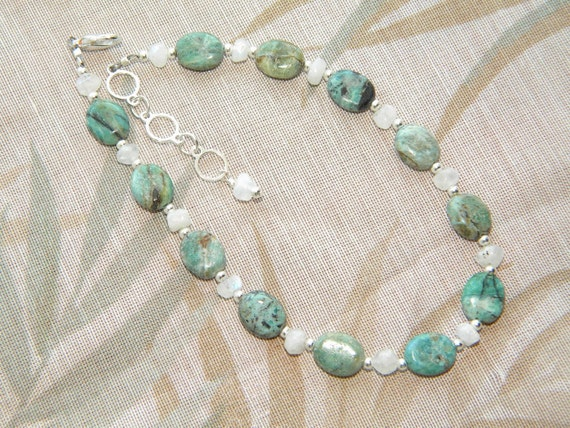 RESERVED for Tammy:  Azurite and Moonstone Anklet- FREE Shipping