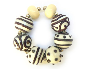 SALE - Ivory Lampwork Beads - Handmade Lampwork Beads - Set of 8 Beads - Brown, Red, Purple, Bead Sale, Destash, Reduced - MadeByFire