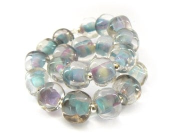 Blue Pearl Pebble Lampwork Beads - Handmade Lampwork Beads - Set of 20 Beads - Sweet, Blue, Pink, Soft, Nugget, Glass, Spacer  - MadeByFire