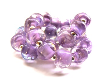 Violet Pink and White Pebble Beads - Handmade Lampwork Beads - Set of 20 Beads - Summer, Flower, Spacer, nugget - MadeByFire