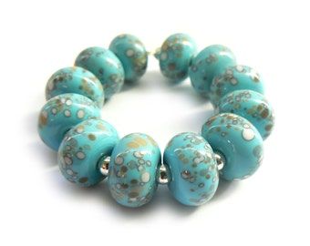 Turquoise Organic Beadset - Handmade Lampwork Beads - Set of 12 Beads - Rock, Ocean, Beach, Faux Rocks - MadeByFire