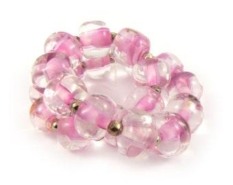 Pink Roses Pebble Lampwork Beads - Handmade Lampwork Beads - Set of 20 Beads - Flower, Sweet, Pink, Soft, Nugget - MadeByFire