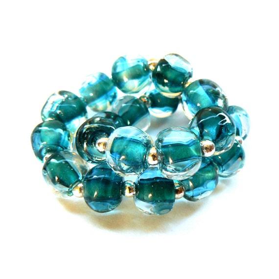 Emerald Green Pebbles Beadset - Handmade Lampwork Beads