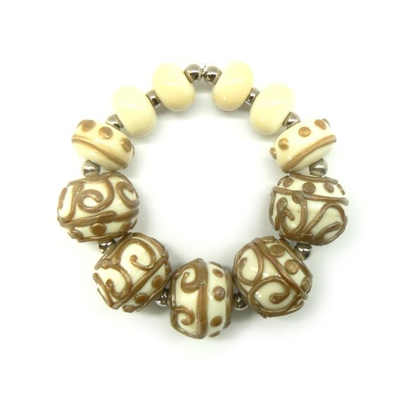 SALE - Ivory and Copper Beadset - Handmade Lampwork Beads