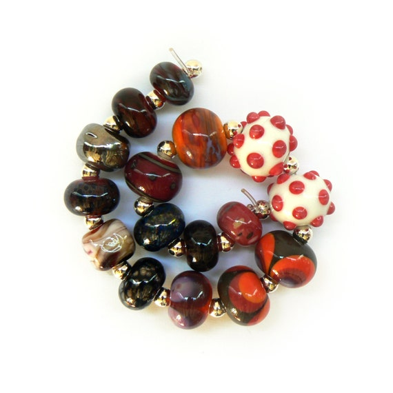 SALE - Orphan Beadset - Red, Orange and silver - Handmade Lampwork Beads