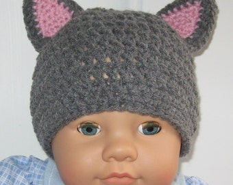 Gray and Pink Crochet Baby Cat Hat