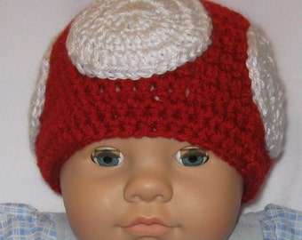 Mushroom Hat, Baby, Small, Red and White