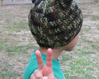 Camouflage Cat Hat, Crochet, Youth Size