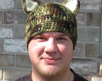 Camouflage Cat Hat, Adult Size, Crochet