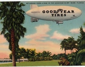Vintage Florida Postcard - Returning from a Ride in the Goodyear Blimp, Miami (Unused)