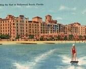 Vintage Florida Postcard - Riding the Surf at Hollywood Beach (Unused)