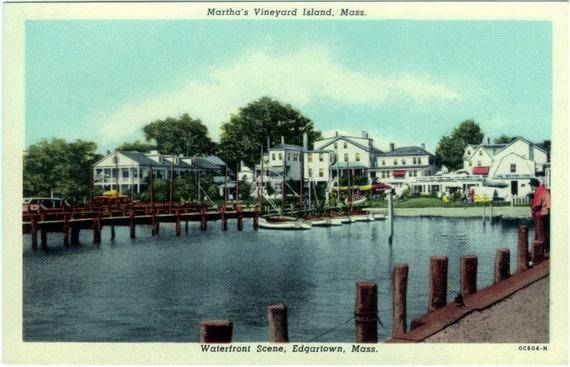 Vintage Martha's Vineyard Postcard - On the Waterfront in Edgartown (Unused)