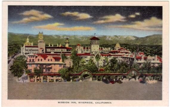 vintage california postcard mission inn riverside