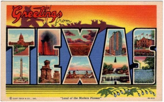 Vintage Texas Postcard - Greetings from Texas (Unused)
