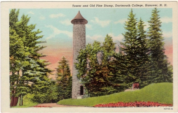 Vintage New Hampshire Postcard - Bartlett Tower and the Lone Pine Stump at Dartmouth College  (Unused)