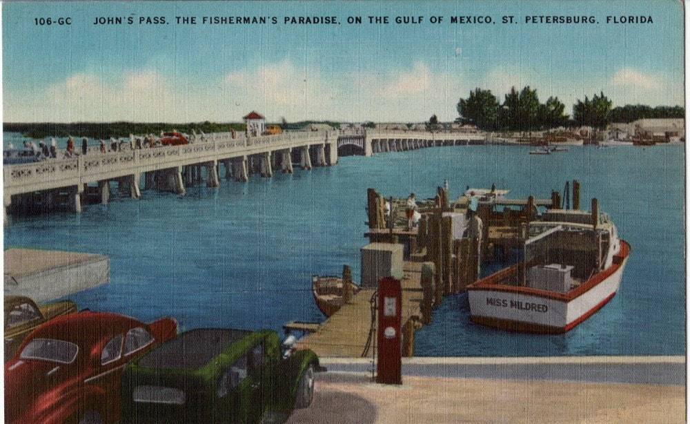 Vintage florida postcard fishing at john 39 s pass by vintageplum for Johns pass fishing