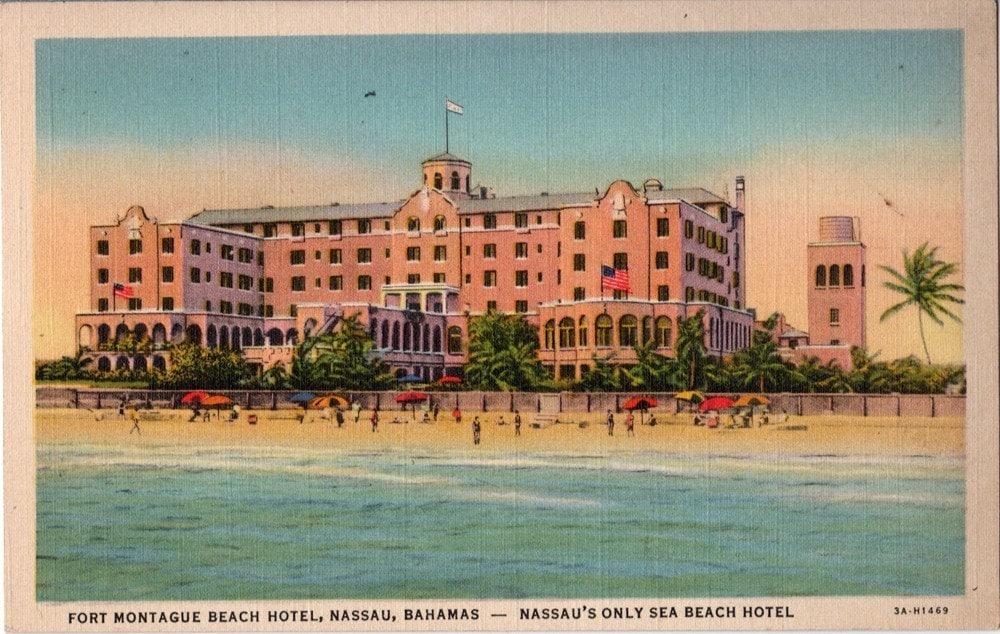 Vintage Bahamas Postcard Fort Montagu Beach Hotel Nassau
