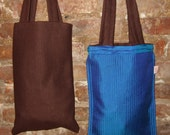 REVERSIBLE DAY BAG: Wool to Iridescent Silk- Perfect City Tote- Brown /Electric Blue