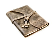Distressed Brown Leather Journal - Antique Skeleton Key Writer's Gift
