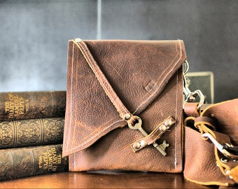 Leather Chest Harness Pouch with Antique Skeleton Key Clasp Closure - Brown Leather Steampunk Harness Bag