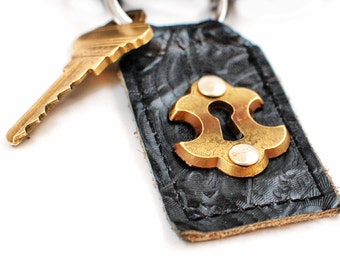 steampunk keychain - leather key fob - antique leather lanyard - distressed leather keychain