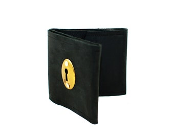 Industrial Black Leather Men's Wallet with Brass Keyhole Hardware Steampunk Accent