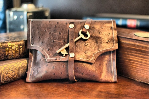 Mayfair Brown Leather Clutch with Antique Skeleton Key Wrap Around