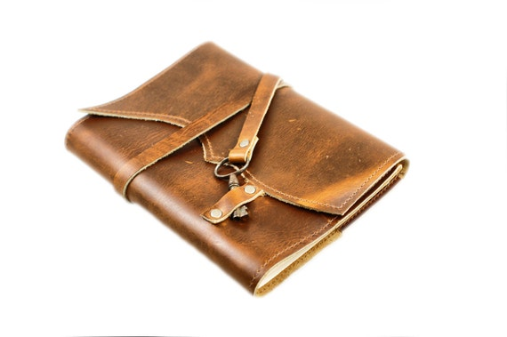 Leather Notebook - Refillable Leather Journal - Key Wrap Leather Diary - Gifts for Tweens - Unique Christmas Gift for Girls
