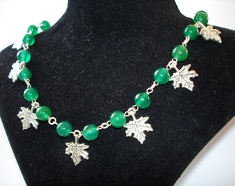 Natural Beauty of Green Maple Leaves Necklace in Peridot
