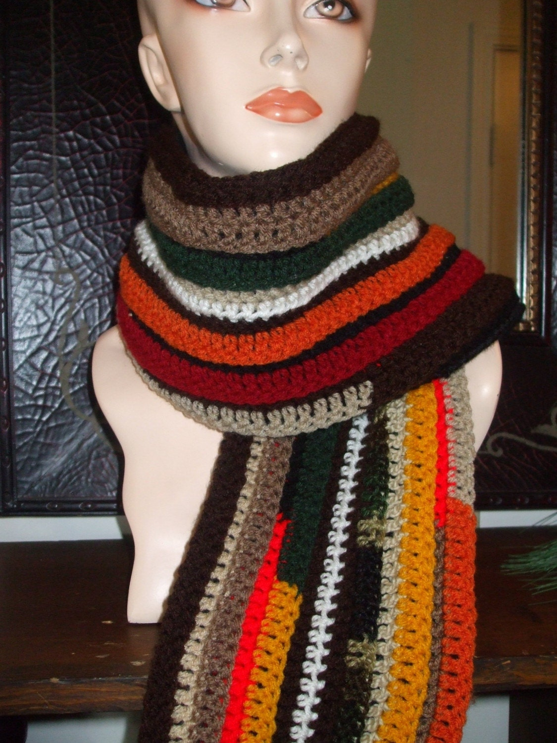 Crochet TwoSided Multi Color Scarf by veronica06 on Etsy Crochet Scarf Two Colors