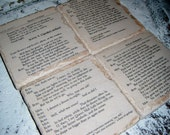 Rustic Chic ROMEO & JULIET Book Coasters, Wedding Favors, - 4 Tumbled travertine stone coasters  - Bibliophile Book Lovers - cyber monday
