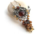 brown silver necklace wire wrapped hessonite garnet chalcedony anniejewelry
