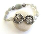 grey labradorite silver bracelet wire wrapped anniejewelry