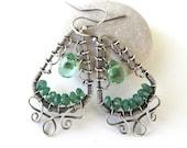green silver earrings wire wrapped aventurine quartz anniejewelry
