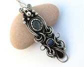 blue labradorite necklace wire wrapped black silver anniejewelry