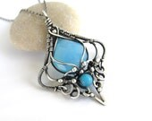 blue chalcedony jade silver necklace wire wrapped anniejewelry