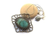 wire wrapped green labradorite necklace silver anniejewelry