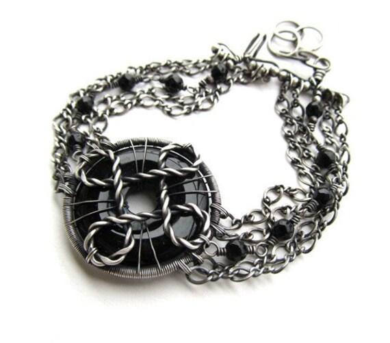 black silver bracelet wire wrapped onyx anniejewelry
