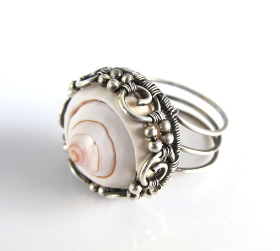 pink silver ring wire wrapped shell anniejewelry