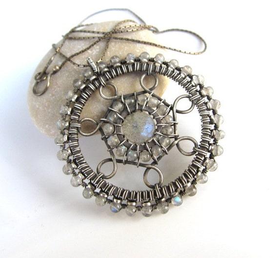 grey necklace wire wrapped silver labradorite mandala anniejewelry
