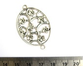 Antiqued Silver Metal Two Loops 40mm x 30mm Oval Pendant\/Connector 3012-24