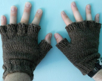 Men's Wool Fingerless Gloves - Dark Brown