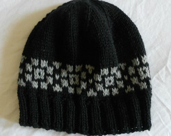 Men's Wool Winter Hat - Black with gray Fair Isle style border
