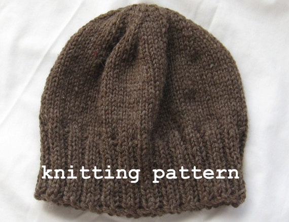 Knitting Patterns For Winter Jackets : Knitting Pattern PDF Mens Winter Beanie