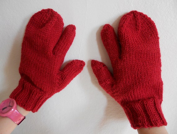 Knitting Pattern For Mittens With Fingers : Knitting Pattern PDF Trigger Finger Mittens for Men and