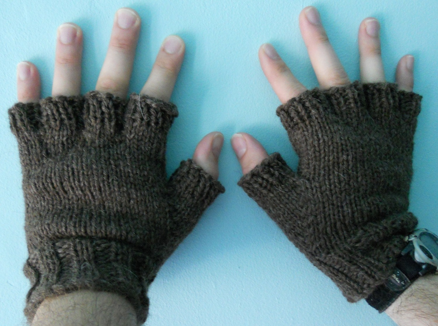 Mens Mittens Knitting Pattern : Mens Wool Fingerless Gloves Dark Brown